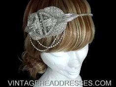 Vintage 1920s Art Deco Diamante Drape Beaded Headpiece - Bridal Headband - Wedding Headpiece - Great Gatsby