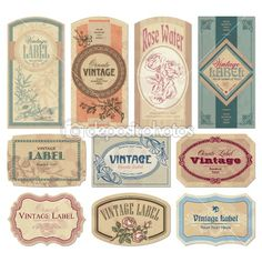Vintage labels set (vector) by milalala - Stock Vector