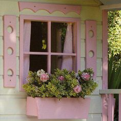 Pretty pink window with pink flowers. So sweet for a cottage! #cottagestyle #prettyinpink #windows