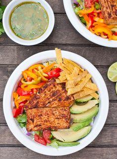 Fish Taco Salad Bowls with a Creamy Sriracha Lime Dressing!