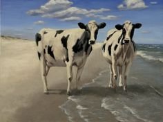 "Cows On The Beach  (Holsteins) by Denise Rich Oil ~ 30"" x 40"""