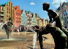 Fountains in Main Square, Rostock, Germany