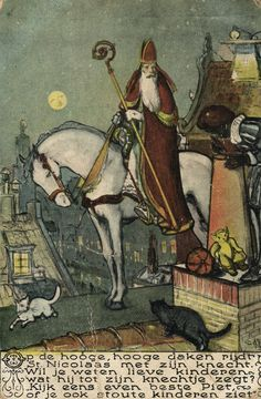 Saint Nicholas on Horse Black Peter Black Cat on Roof Vintage Artist Postcard | eBay