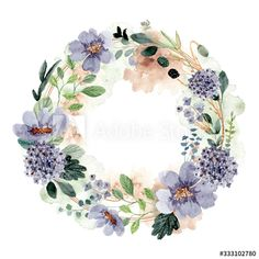 Stock Image: beautiful blue green floral watercolor wreath Wreath Watercolor, Watercolor Sketch, Watercolor Illustration, Floral Watercolor, Image Bougie, Muslim Holidays, Floral Illustrations, Malm, Blue Green