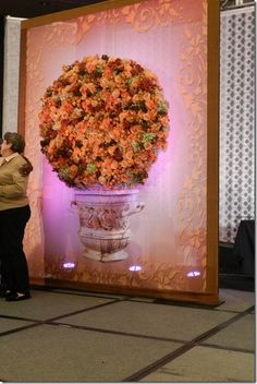 urn floral sculpture on printed & framed art screen by Preston Bailey Flower Wall Backdrop, Floral Backdrop, Flower Wall Wedding, Wedding Flowers, Flower Decorations, Wedding Decorations, Wedding Ideas, Preston Bailey, Elegant Flowers
