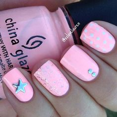 Cute, Pink and Silver Summer Nails