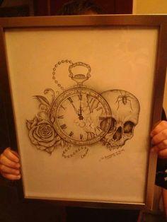 Skull rose clock