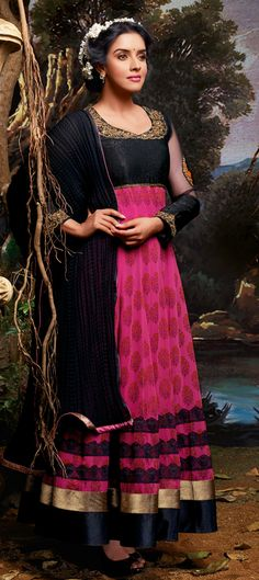 420112: #GetThisLook - Bollywood actress #Asin looks pretty in #anarkali.  #Pink #Wedding #Partywear #sale #OnlineShopping #celebrity #Festivewear