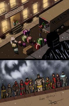 The full Batman team! Nightwing, Batgirl, Catwoman, Tim Drake, Damian Wayne, Batman Art, Batman Robin, Red Hood, Arte Dc Comics