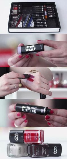 Watch As We Unbox (And Nerd Out) Over the CoverGirl x Star Wars Collection! See all the light side and dark side lipstick shades, collectable mascara tube sayings, and the three nail polish colors, here. | allure.com