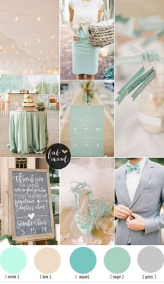 Mint and tan wedding colour palette