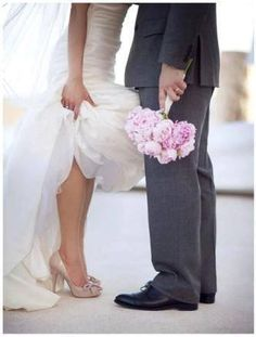Image via We Heart It #bride #dress #flowers #heels #husband #kiss #kissing #love #marriage #shoes #suit #wedding #wife #grom #aca