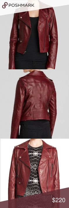 Parker Belfast Burgundy Leather Moto Jacket Sz XS Parker Belfast Burgundy Leather Moto Jacket Sz XS    The classic biker silhouette looks fresh and on-trend in a rich russet-red hue. The autumnal shade softens the inherent toughness of a leather jacket without abandoning timeless details like a built-in belt at the hips, a quilted lower back panel and diagonal stitched details at the elbows.   Front zip closure.  Notched lapels. Side snap pockets; zip hand-warmer pockets. Lambskin leather…
