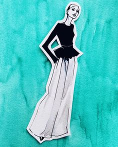 I just risked ruining an illustration by cutting it out. But still looks good on the watercolor background. #fashionillustration #carolinaherrera #resort2017 #blackandwhite #turquoise #watercolor #illustration #nadinebatista #fashion #nyfw #fashionsketch #illustrator #fashion #art #aquarell #instaart #drawing