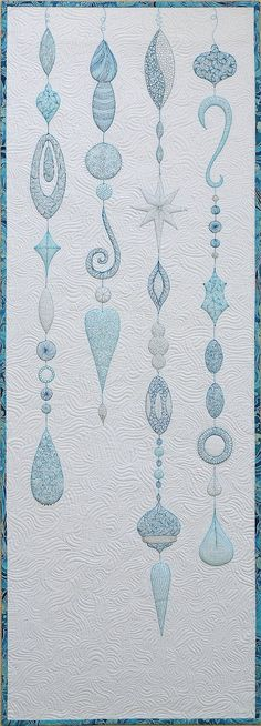 Sampaguita Quilts: Winter Baubles whole cloth quilt in AP&Q.  The ornaments are made by quilting with blue thread.
