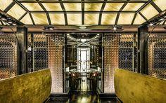 装飾ガラス施工例_レストラン・パーテーションウォール「コンベックス スクウェアー」