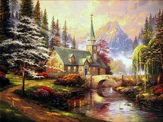 Thomas Kinkade Dogwood Chapel Cross Stitch Pattern***L@@K***~~**I WILL SEND WORLD-WIDE Free**~~