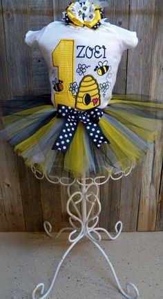 Custom Bumble Bee Theme Birthday Outfit by bearyuniquegifts, $49.99
