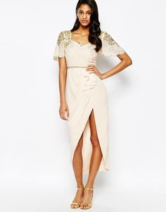 Image 1 ofVirgos Lounge Laila Embellished Midi Dress With Thigh Split Detail