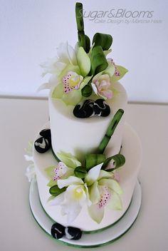 Sugar flower cake, sugar orchids, sugar leafes, sugar bamboo, sugar stones