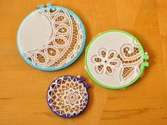 DIY Doily Crafts DIY Crafts :DIY  DOILY CRAFTS: How To Create Doily Hoop Art - could do this with the embroidered table cloths I got from nanna