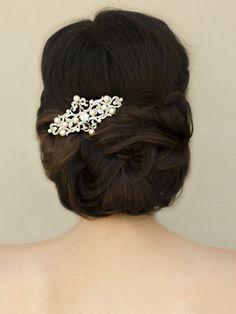 "Vintage Rhinestone & Pearl Bridal Hair Comb ~ ""Lucia"" - Bridal Hair Accessories, Wedding Headpieces, Bridal, Wedding, Hair Accessories, Headpieces, Combs, Clips, Hair Pins, Flowers, Headbands, Tiaras, Jewelry, Vintage, Beach - Hair Comes th"