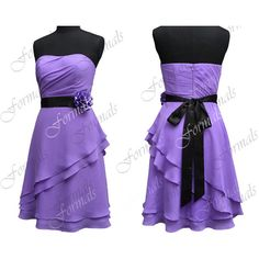 Strapless Knee Length Purple with Black Sash Chiffon Short Bridesmaid... ($99) ❤ liked on Polyvore featuring dresses, strapless cocktail dresses, prom dresses, strapless prom dresses, short purple dresses and chiffon prom dresses