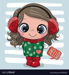 Cute girl in a coat and fur headphones. Cute Cartoon girl in a coat and fur headphones stock illustration Cartoon Cartoon, Cute Cartoon Girl, Cartoon Characters, Cute Girl Drawing, Cute Drawings, Unicorn Pictures, Scrapbook Paper, Cute Girls, Chibi