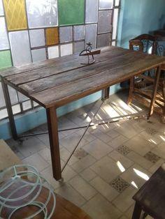 mesa comedor hierro/madera acero