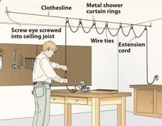 Keep your extension cord out of the way with a clothes line, and shower curtain rings.