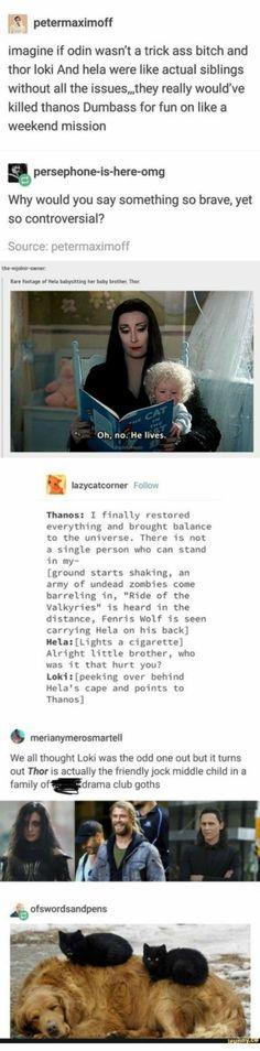 If Thor, Hela, and Loki we're actually nice siblings. Marvel Avengers, Wanda Marvel, Avengers Memes, Marvel Dc Comics, Superhero Memes, Funny Marvel Memes, Marvel Jokes, Marvel Films, Memes Humor