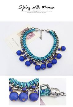 Catholic Blue Beads Decorated Weave Design Alloy Korean Necklaces ,Korean Necklaces  http://earrings.asumall.com/