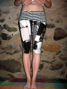 Eco-Friendly Black and White Scrap Patchwork Punk Leggings Small/Medium By Vicmes Clothing