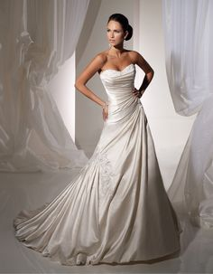 A- line with double sweetheart neckline, chapel train