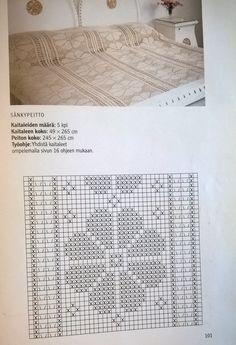 Crochet Diagram, Filet Crochet, Irish Crochet, Crochet Doilies, Crochet Patterns, Love Crochet, Knit Crochet, Bedspread, Cross Stitch Designs