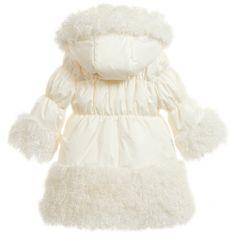 Loredana LòLò - Ivory Padded Coat with Fur Trim