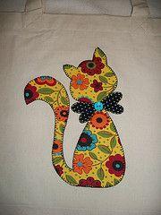 Sacola retornvel gato... (Ka Comelli) Tags: flores artesanato gato patchwork eco cozinha patchcolagem sacolaretornvel aplique patchaplique