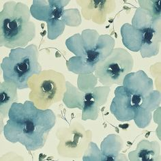 Inari  'Inari' is a beautiful multicoloured floral painted in a similar watercolour style to the printed fabric design 'Mandarin Flowers'.  Collection: Colour for Living Wallpapers