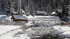 A snowy morning at Dunton Hot Springs near Telluride in southwest Colorado