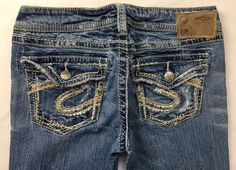 SILVER JEANS Low Rise Flap Distressed Tuesday Bootcut Jean 28 X 33*READ DESCRIPT #SilverJeans #BootCut