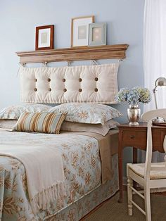 Kopfteil für das Bett-Gepolstertes Bettkopfteil und Ablagefläche für Bilder-DIY-Design