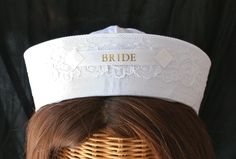 BRIDE Sailor Hat perfect for Nautical Bachelorette Party or Bridal Shower - Style Bachelorette Cruise, Nautical Bachelorette Party, Nautical Bridal Showers, Bachlorette Party, Nautical Party, Nautical Wedding, Bridesmaid Duties, Cruise Wedding, Before Wedding