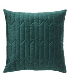 $17.99 Dark green. Cushion cover in cotton velvet with quilted front section and concealed zip.
