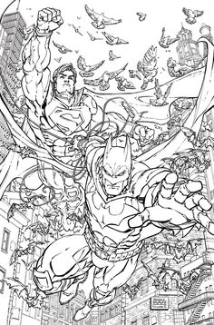 BATMAN SUPERMAN 28 Adult Coloring Book Variant Cover By FREDDIE E WILLIAMS II