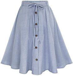 Summer Women Skirt Vintage Stripe Print Lace-up Button High Waist Skirts Pleated Cotton Midi Knee-length Skirts Pleated Midi Skirt, Stripe Skirt, Dress Skirt, High Waisted Skirt, Pencil Skirts, Women's Skirts, Skater Skirt, Comfortable Teacher Outfits, Girl Clothing