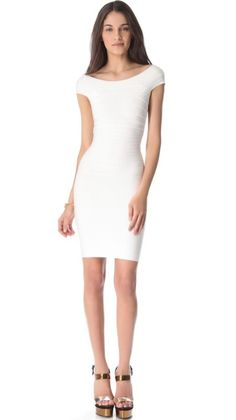 White Herve Leger Off the Shoulder Bandage Dress