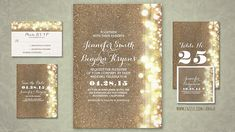 string of lights faux glitter blush gold foil wedding invites Wedding Invitation Images, Wedding Postcard, Glitter Wedding Invitations, Wedding Images, Wedding Stationery, Card Table Wedding, Wedding Cards, Wedding Ceremony Arch, Personalized Wedding