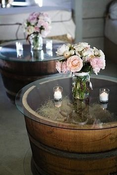 Home Depot has 18″ whiskey barrels for $30 and Bed Bath & Beyond has 20″ glass table toppers for $8.99. This is a great idea for DIY outdoor tables…for only $38.99 each!