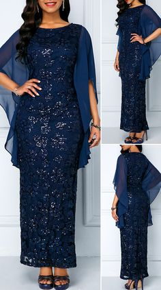 Chiffon Panel Navy Sequin Embellished Lace Maxi Dress - New Site Lace Dress Styles, African Lace Dresses, Latest African Fashion Dresses, African Print Fashion, Women's Fashion Dresses, Fashion Fashion, Modest Dresses, Pretty Dresses, Beautiful Dresses