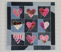Upcycled textile Valentine  HAUTE MENDED HEARTS by HauteSelvage